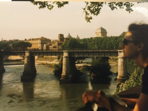 Angie caught a glimpse of me while gazing over the River Arno in Italy.